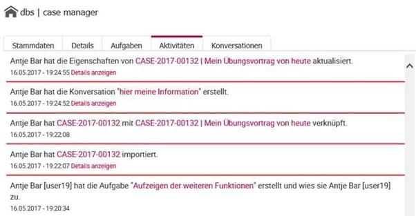 Screenshot Aktivitätenverlauf case manager