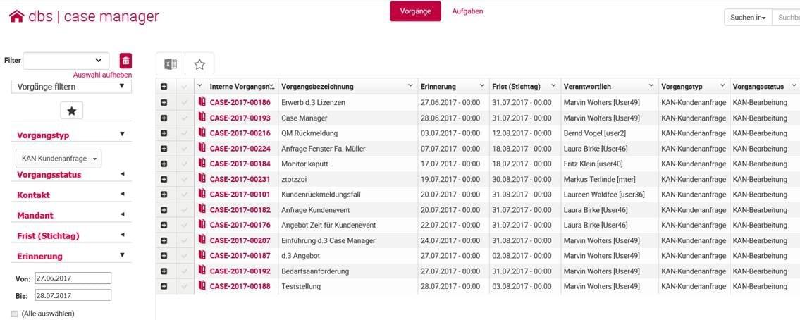 Digitales Vorgangsmanagement im dbs | case manager von d.3ecm