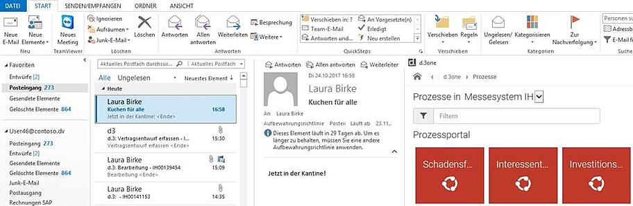 Screenshot d.3one outlook Prozessportal