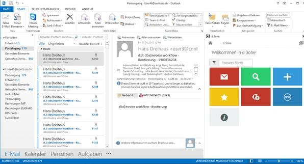 d-3one-in-outlook, DMS Integration in Outlook